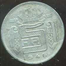 BELGIQUE 5 francs 1946  zinc   ( des belges  )  ( bis )