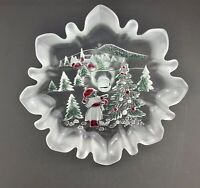 Mikasa Holiday Classic Frosted Ruffle Etched Glass Footed Bon Bon Dish 9.5 Inch