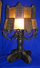 Vintage Rustic Wood & Wrought Iron, Glass & Chain Lamp Made in Mexico