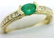 Emerald & 10 Diamond 9K 9ct 375 Solid Gold Ring - Sz 7 - 30 Day Refunds