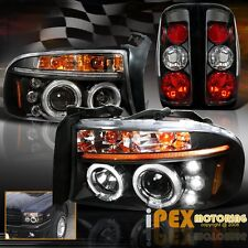 1997-2004 Dodge Dakota Dual Halo Projector LED Headlights + Black Tail Light