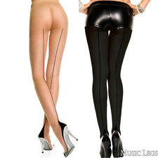 Nude or Black Spandex Sheer Cuban Heel Back Seam Pantyhose Reg. or Queen ML7096