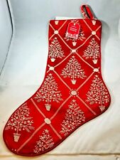 Hallmark Christmas Classic Stocking Red w White Tree Design NWT