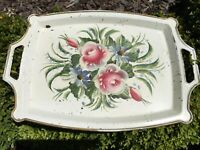 "VINTAGE CREAM TOLE TRAY W/HANDLES~FLOWERS/FLORAL~SHABBY CHIC~17 1/4""X11 7/8"""