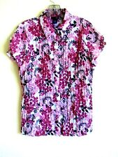 EAST 5TH RED FLOWERED STRETCH TOP/BLOUSE. 97% POLYESTER, 3% SPANDEX. SIZE L
