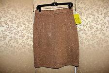 ST. JOHN NWT Brown Rhinestone Beaded Evening Knit Skirt 8