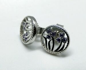 Sterling Silver 925 Amethyst Flower Stud Earrings Gift February Birthday CZ Box
