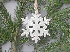 Copo De Nieve Madera Gris 12cm Colgante Deco Objeto Navidad Decoración