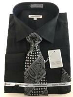 Men's Daniel Ellissa Pin Head French Cuffs Black Dress Shirt Tie,Hanky DS3797P2