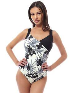 Costume INTERO donna Capri Mare Beachwear Marina Taglie FORTI panna-nero