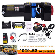 Electric Winch 4500lbs 12v Synthetic Rope Atv Utv Winch Towing Truck New Arrival