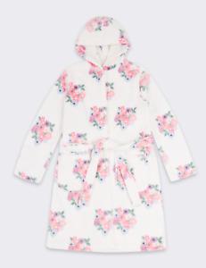 M&S Marks Spencer Girls Floral Print Hooded Fleece Dressing Gown Belt White/Pink