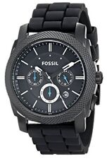Fossil Machine Chronograph Black Dial SS Silicone Quartz Mens Watch FS4487