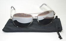 Aviator Large Driving Sunglasses Full Silver Metal Frame Mirror Top Av Uv 400 99