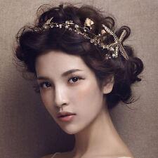 Women's Gold Starfish Headband Hair ACCESSORY Wedding Crown Fascinator Racing