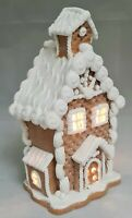 "Gingerbread Waffle House Brown White Icing LED Light Up Clay-dough 7"" Gerson"