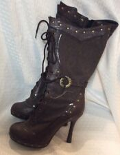 ELLIE Womens Knee High Costume Casual Stiletto Platform Boots Size 9 Brown