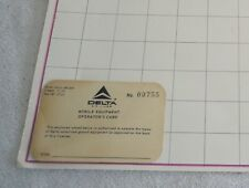 Delta Airlines Employee's mobile equipment operators card unused 1970's