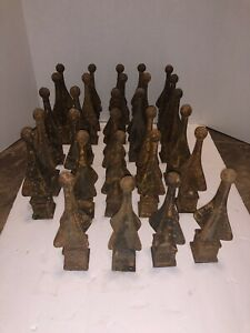 Vintage ? Iron Fence Topper Lot Cast Iron Lot Of 29 Rust Finial Fence Square Top