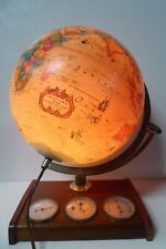 VINTAGE WORLD SCAN GLOBE DENMARK ANTIQUE ILLUMINATING LAMP WEATHER STATION BASE