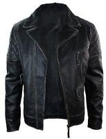 NEW Mens Genuine Motorcycle Hot Bomber Leather Jacket Biker Fit Slim Coat MJ506