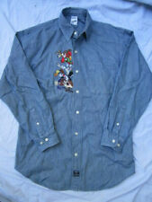 Warner Bros WB That's All Folks Denim Commemorative Button Shirt Bugs Sz S, GUC