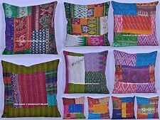 100 PC Wholesale Lot Cushion Cover Handmade Silk Kantha Pillow Case Sham Throw