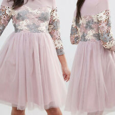 Womens Embroidered Evening Skater Dress with Tulle Skirt Long Sleeve