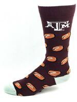 Texas A&M Aggies For Bare Feet Maroon Crew Socks with Repeat Football Logo