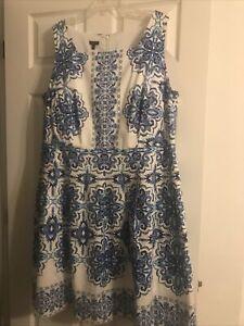 Talbots Women's Sidewalk Batik Floral Print Cotton Fit & Flare Dress Size 20W