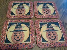 Longaberger Winky Witch Halloween Cork Backed Coasters Set of 4!