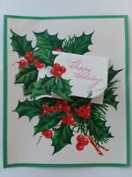 1950s UNUSED Vtg HOLIDAY HOLLY Double Wish Layered CHRISTMAS GREETING CARD