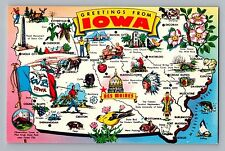 Iowa IA State Map Golf Indian Hog Flag Meat Bird Fish Farming Postcard 1960s