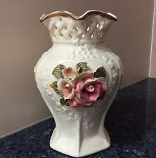 Cream Vase with Pink Roses Bone China