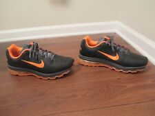 Used Worn Size 13 Nike Air Max 2011 Leather Shoes Black, Total Orange, Dark Gray
