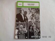 CARTE FICHE CINEMA ALICE TISSOT période 1935 - 1962