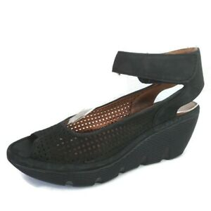 Clarks Artisan Perforated Suede Black Wedge Ankle Strap Peep Toe Sandals Size 7