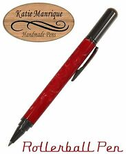 Rollester Rollerball Pen in Red & White Swirl with Gunmetal Hardware / #475
