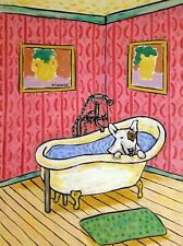 Bull Terrier Bathroom 4x6 glossy art Print impressionism artist animals