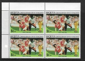 1986 St VINCENT Bequia - World Cup Football  Block - USSR. v England - MNH.