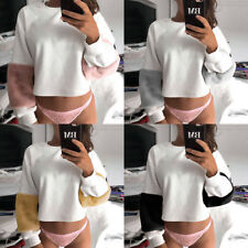 Women ladies Crew Neck Long Sleeve Chunky Cable Jumper Sweater Top Waist Long
