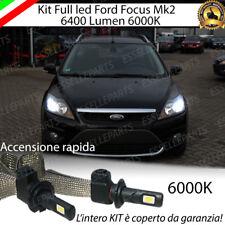 KIT FULL LED FORD FOCUS II H1 6000K NO ERRORE ABBAGLIANTE CANBUS 6400 LUMEN