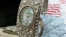 FREE Gossip Quartz Watch Girls Woman Mother Pearl Face Crystals band SILVERTONE