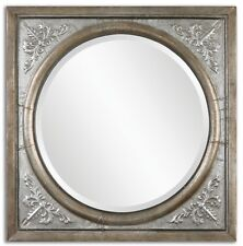 """TUSCAN TRADITIONAL BURNISHED SILVER EMBOSSED METAL IRENEUS WALL MIRROR DECOR 34"""""""