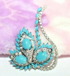 IGI Certified 1.90ct Natural Round Diamond 14K Solid White Gold Turquoise Brooch