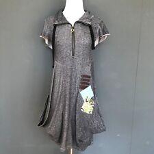 Kensie Pocket Dress Small Gray Black Patchwork Skull Fall Burning Festival Man