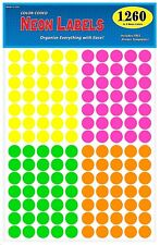"""3/4"""" Round Color Coded Neon Labels, 1260 Labels Total - Fits Any Printer"""