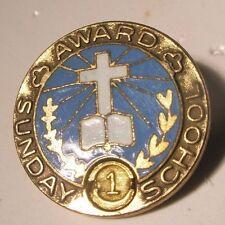 Sunday School Award Vintage Lapel Pin Tie Tack cross gift