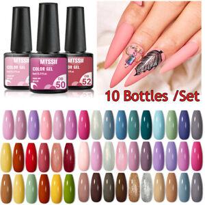 Mtssii 10 Pcs Gel Nail Set Gel Nail Polish Kit Soak Off Nail Art Gel UV LED DIY