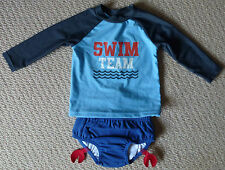 NWT Target Boys Blue Red Crab Swimming Nappy Rash Vest Bathers Size 0